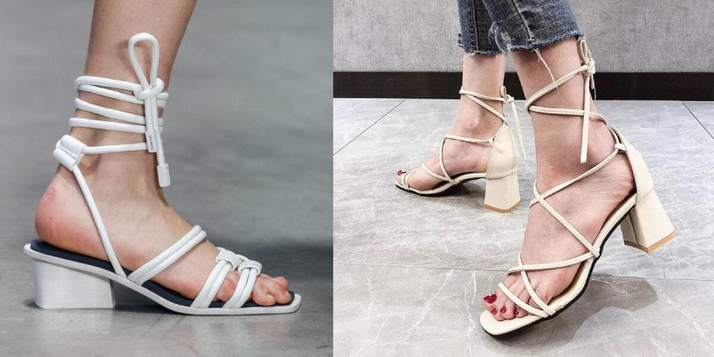 Завязки на щиколотках модные босоножки Лето 2020